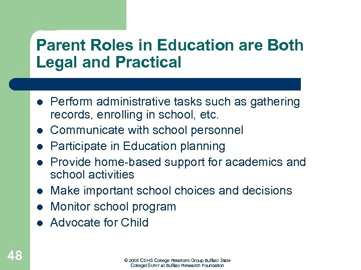 Parent Roles in Education are Both Legal and Practical l l l 48 Perform