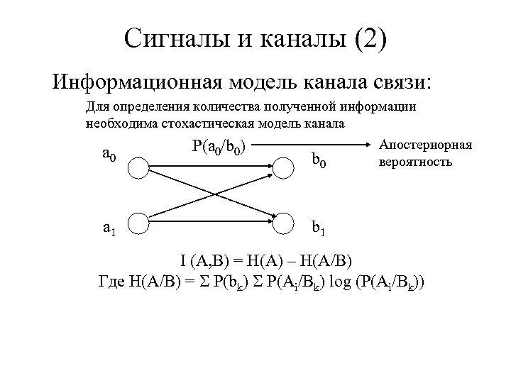 Сигналы и каналы (2) Информационная модель канала связи: Для определения количества полученной информации необходима