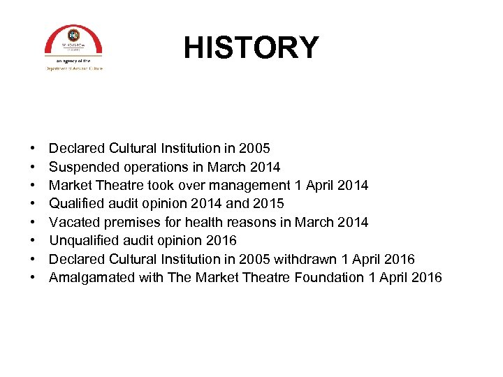 HISTORY • • Declared Cultural Institution in 2005 Suspended operations in March 2014 Market