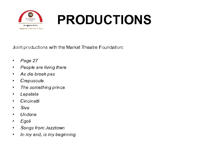 PRODUCTIONS Joint productions with the Market Theatre Foundation: • • • Page 27 People