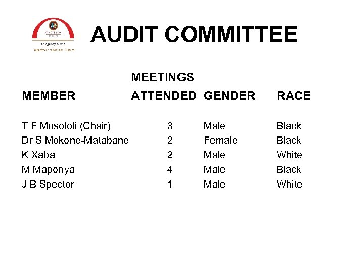 AUDIT COMMITTEE MEETINGS MEMBER T F Mosololi (Chair) Dr S Mokone-Matabane K Xaba M