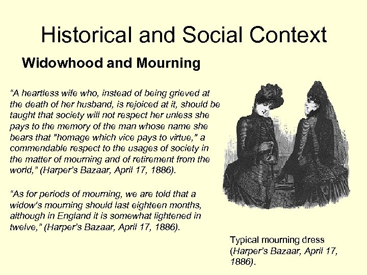 "Historical and Social Context Widowhood and Mourning ""A heartless wife who, instead of being"