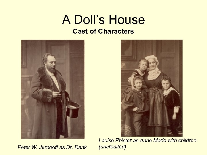 A Doll's House Cast of Characters Peter W. Jerndoff as Dr. Rank Louise Phister