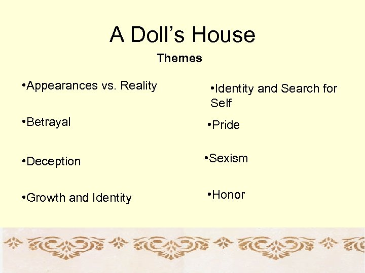 A Doll's House Themes • Appearances vs. Reality • Identity and Search for Self