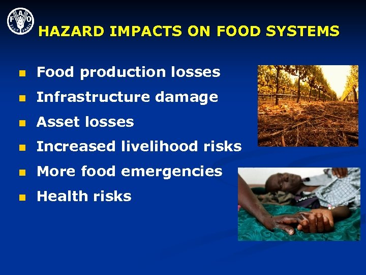 HAZARD IMPACTS ON FOOD SYSTEMS n Food production losses n Infrastructure damage n Asset