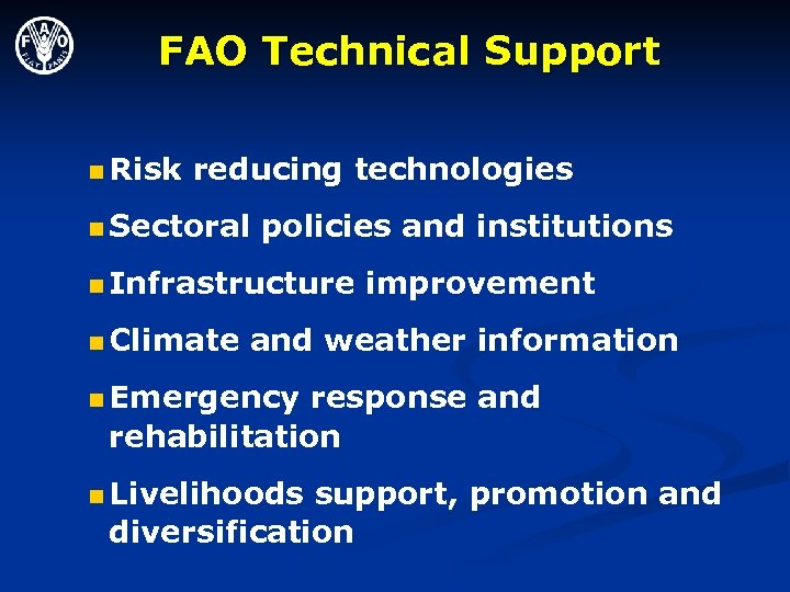 FAO Technical Support n Risk reducing technologies n Sectoral policies and institutions n Infrastructure