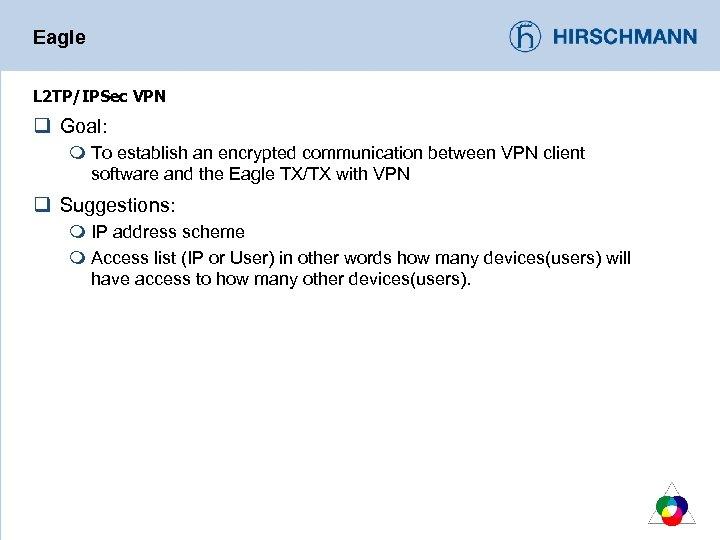 Eagle L 2 TP/IPSec VPN q Goal: m To establish an encrypted communication between