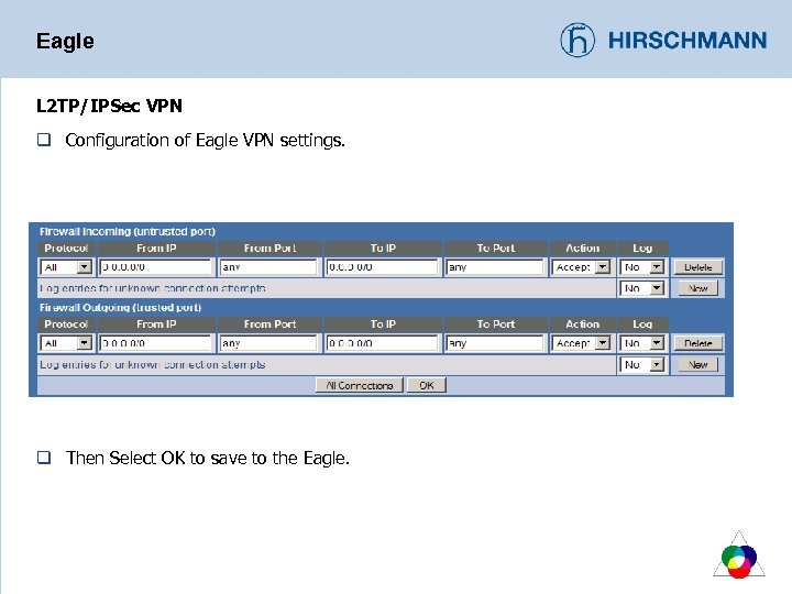 Eagle L 2 TP/IPSec VPN q Configuration of Eagle VPN settings. q Then Select
