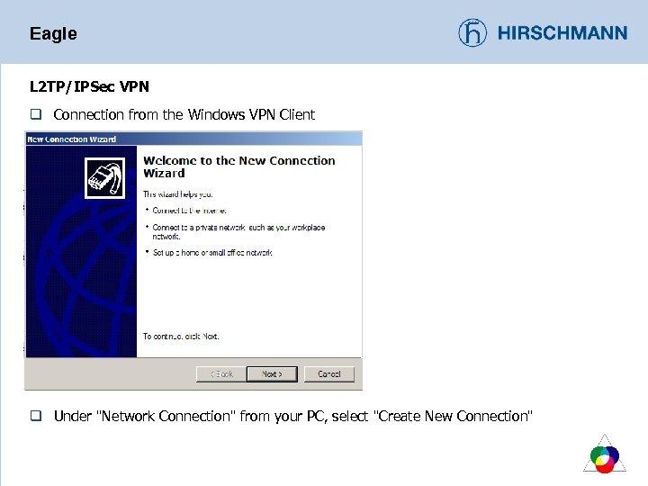 Eagle L 2 TP/IPSec VPN q Connection from the Windows VPN Client q Under