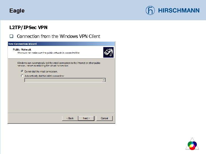 Eagle L 2 TP/IPSec VPN q Connection from the Windows VPN Client