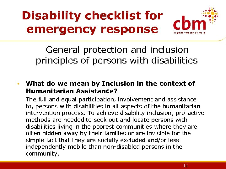 Disability checklist for emergency response Together we can do more General protection and inclusion