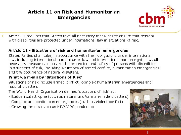 Article 11 on Risk and Humanitarian Emergencies Together we can do more • Article