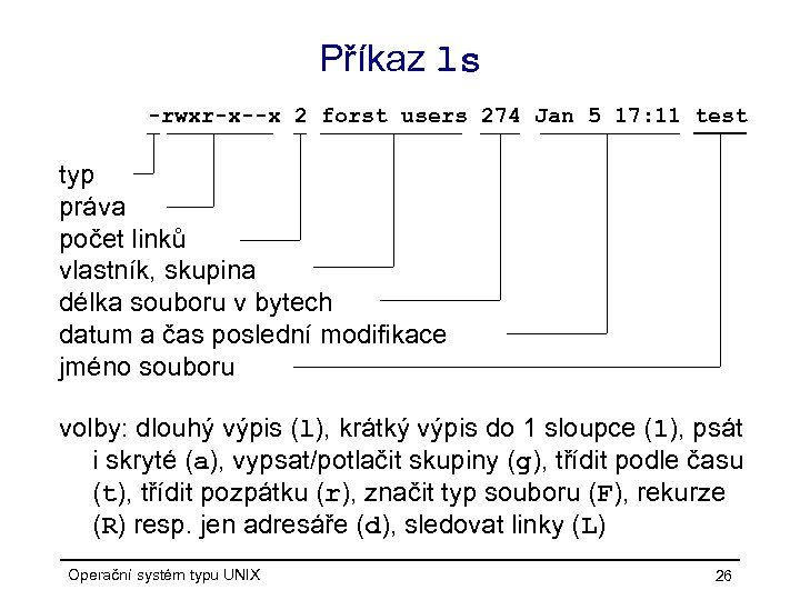 Příkaz ls -rwxr-x--x 2 forst users 274 Jan 5 17: 11 test typ práva