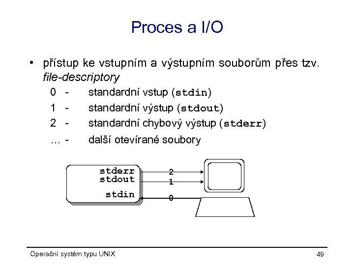 Proces a I/O • přístup ke vstupním a výstupním souborům přes tzv. file-descriptory 0