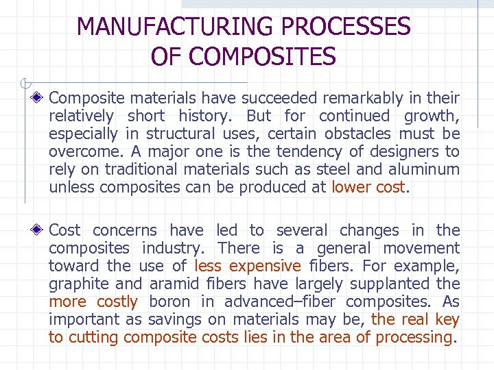 MANUFACTURING PROCESSES OF COMPOSITES Composite materials have succeeded remarkably in their relatively short history.
