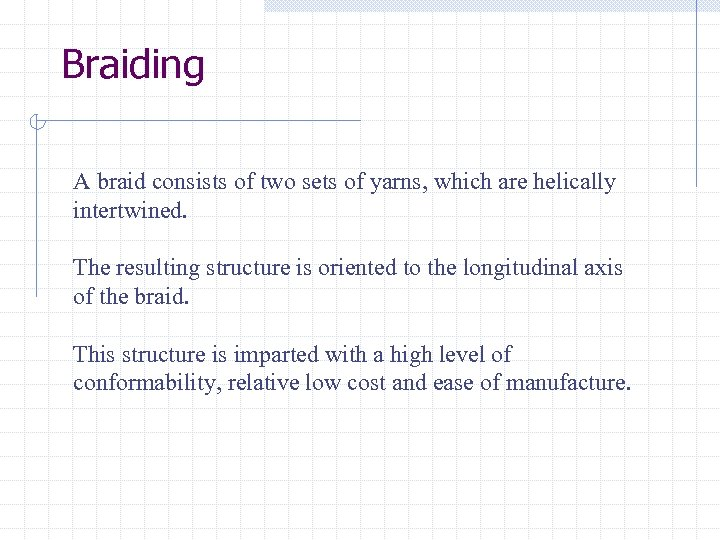 Braiding A braid consists of two sets of yarns, which are helically intertwined. The