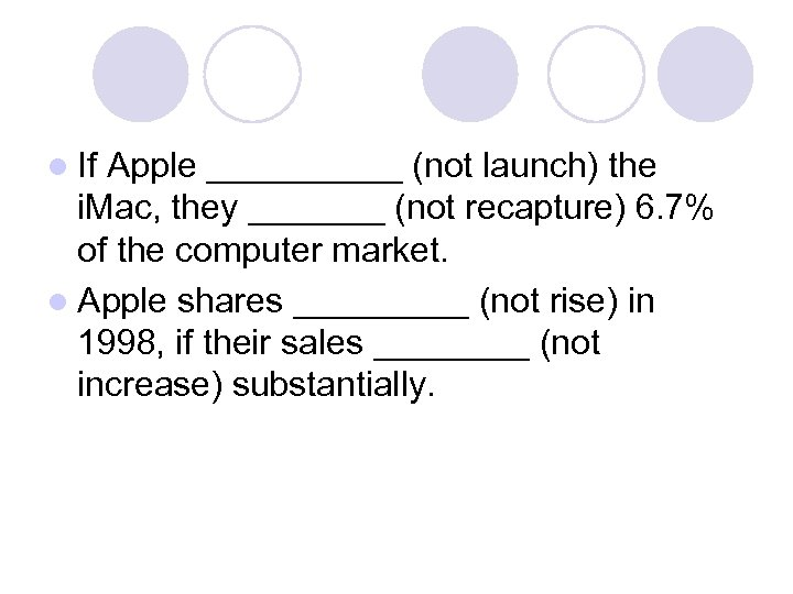 l If Apple _____ (not launch) the i. Mac, they _______ (not recapture) 6.