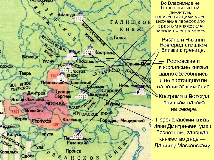Во Владимире не было постоянной династии, великое владимирское княжение переходило к разным княжеским линиям