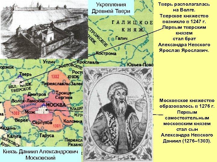 Укрепления Древней Твери Тверь располагалась на Волге. Тверское княжество возникло в 1247 г. Первым