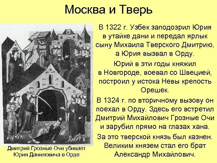 Москва и Тверь Дмитрий Грозные Очи убивает Юрия Даниловича в Орде В 1322 г.