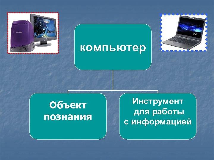 компьютер Объект познания Инструмент для работы с информацией