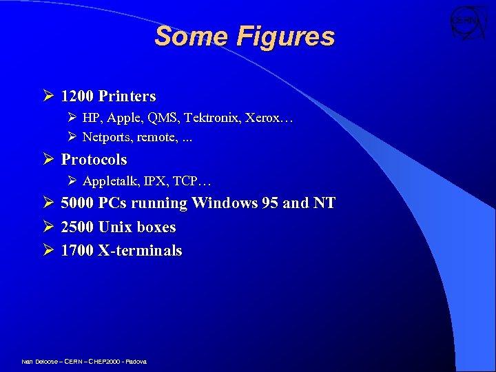 Some Figures Ø 1200 Printers Ø HP, Apple, QMS, Tektronix, Xerox… Ø Netports, remote,