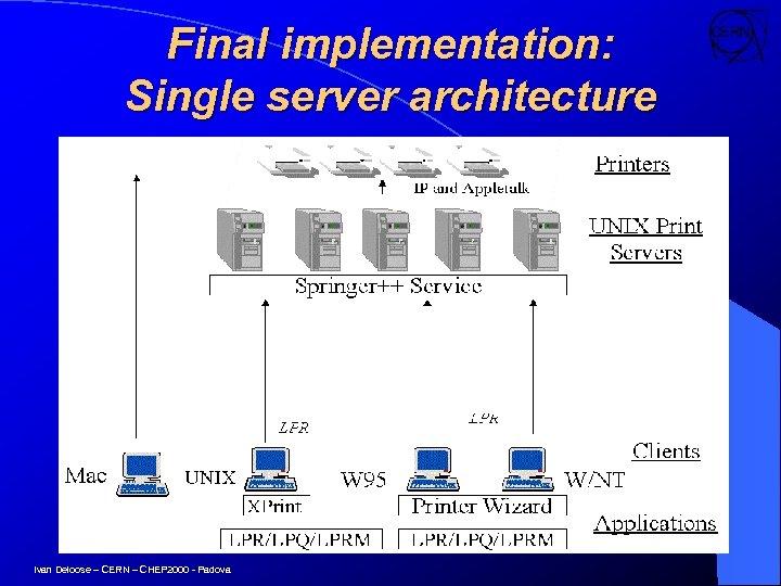 Final implementation: Single server architecture Ivan Deloose – CERN – CHEP 2000 - Padova