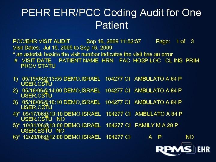PEHR EHR/PCC Coding Audit for One Patient PCC/EHR VISIT AUDIT Sep 16, 2009 11: