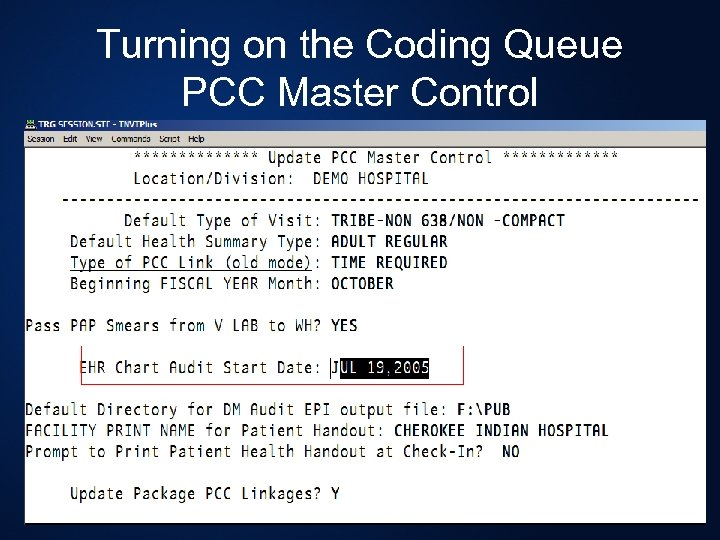 Turning on the Coding Queue PCC Master Control