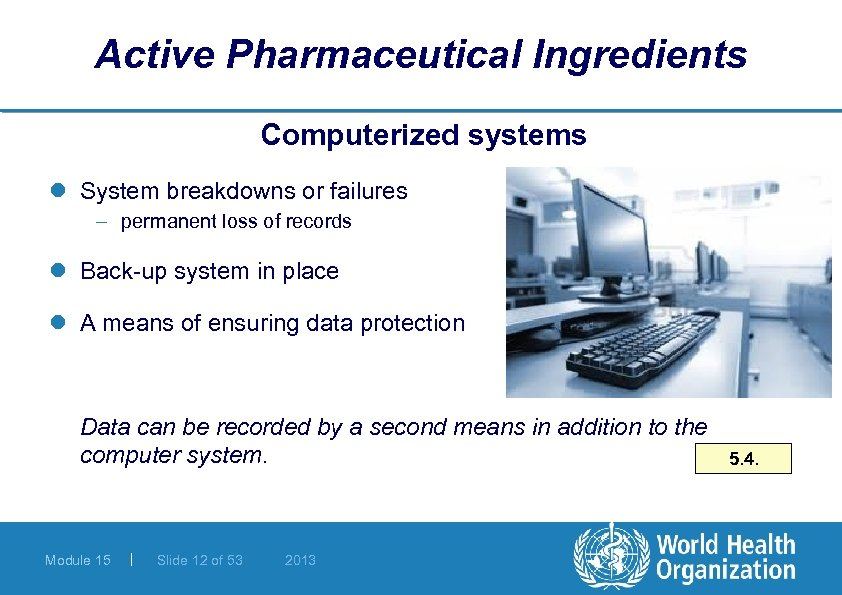 Active Pharmaceutical Ingredients Computerized systems l System breakdowns or failures – permanent loss of