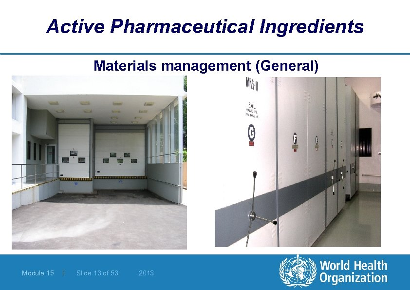 Active Pharmaceutical Ingredients Materials management (General) Module 15 | Slide 13 of 53 2013
