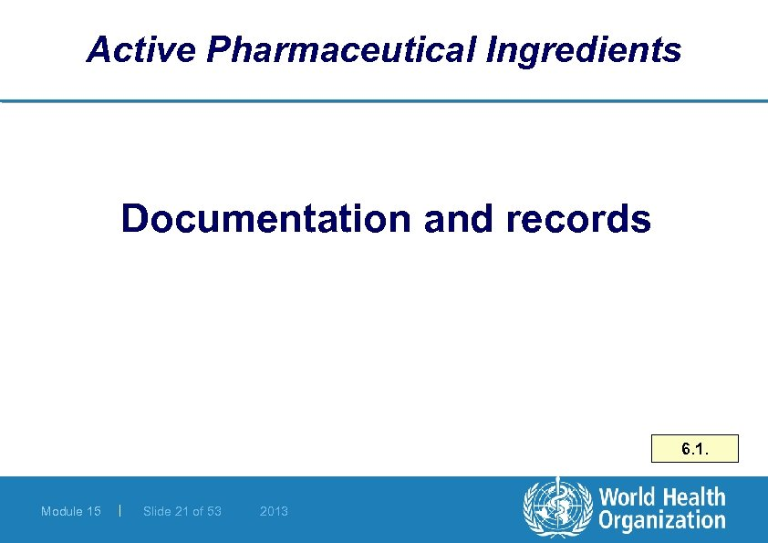 Active Pharmaceutical Ingredients Documentation and records 6. 1. Module 15 | Slide 21 of
