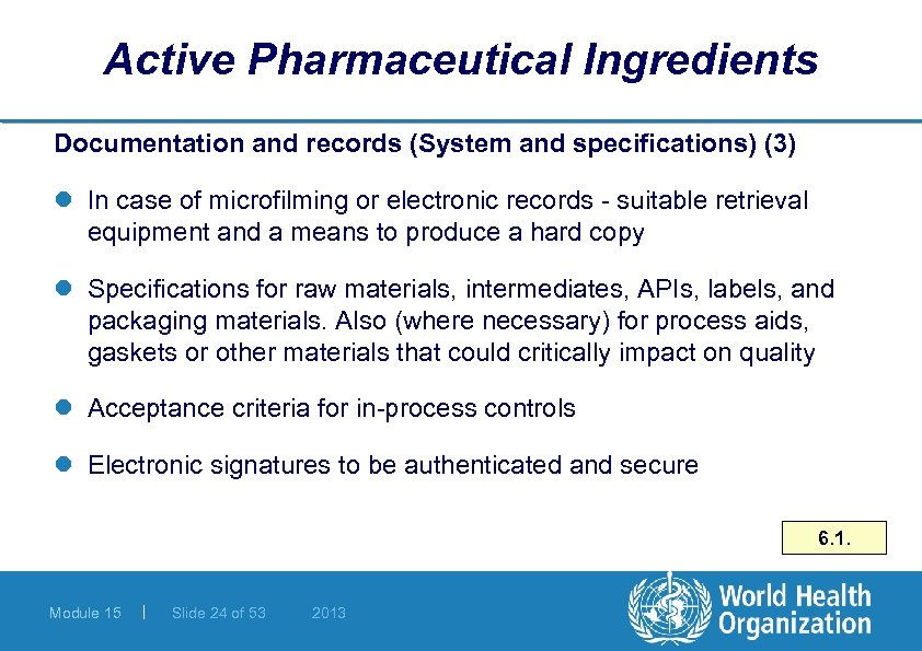 Active Pharmaceutical Ingredients Documentation and records (System and specifications) (3) l In case of