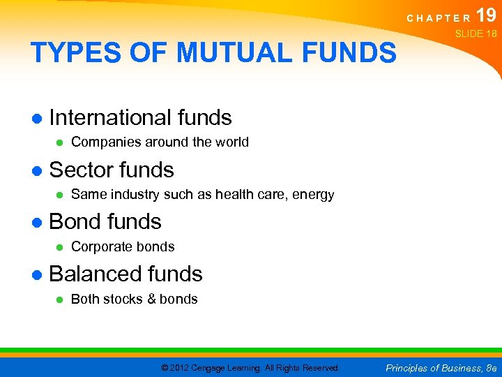 CHAPTER TYPES OF MUTUAL FUNDS 19 SLIDE 18 ● International funds ● Companies around