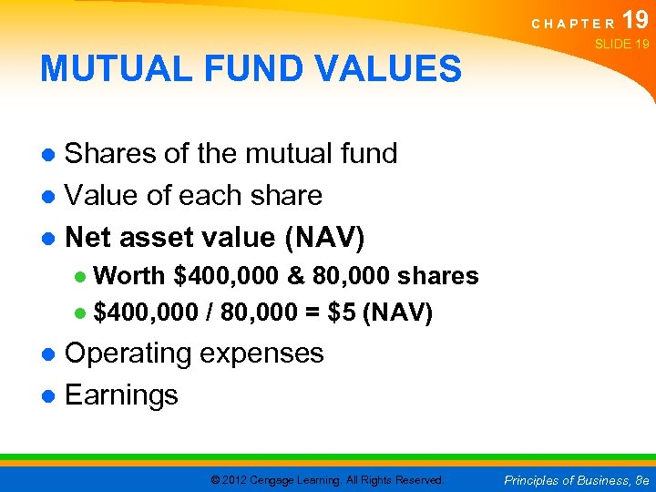 CHAPTER MUTUAL FUND VALUES 19 SLIDE 19 ● Shares of the mutual fund ●