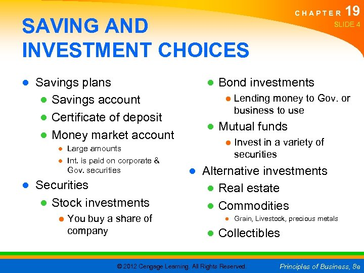 CHAPTER SAVING AND INVESTMENT CHOICES ● Savings plans ● Savings account ● Certificate of