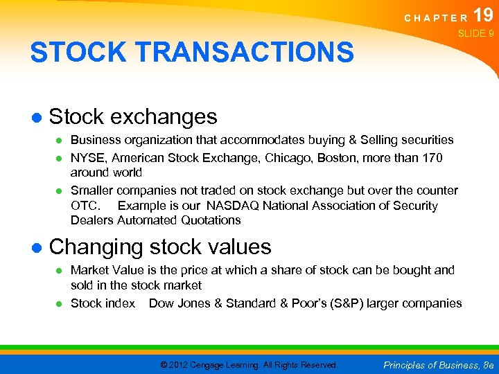 CHAPTER STOCK TRANSACTIONS 19 SLIDE 9 ● Stock exchanges ● Business organization that accommodates