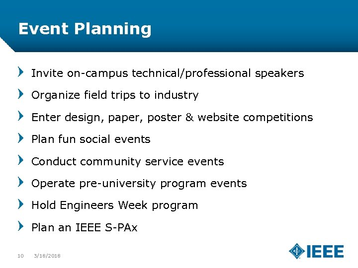 Event Planning Invite on-campus technical/professional speakers Organize field trips to industry Enter design, paper,