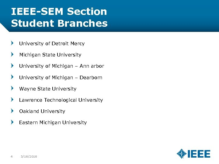 IEEE-SEM Section Student Branches University of Detroit Mercy Michigan State University of Michigan –