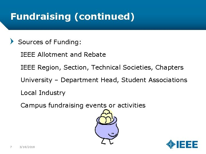 Fundraising (continued) Sources of Funding: IEEE Allotment and Rebate IEEE Region, Section, Technical Societies,