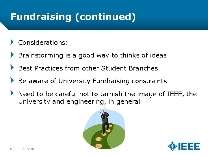 Fundraising (continued) Considerations: Brainstorming is a good way to thinks of ideas Best Practices