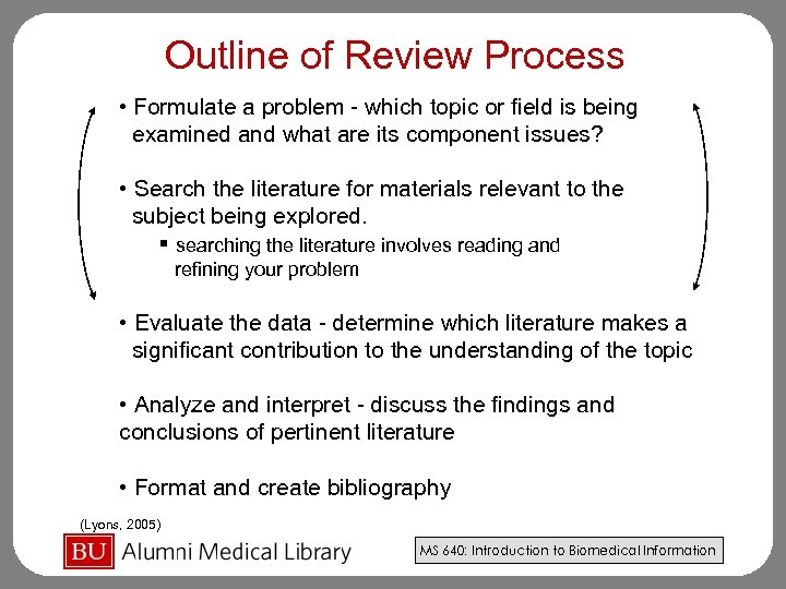 Outline of Review Process • Formulate a problem - which topic or field is