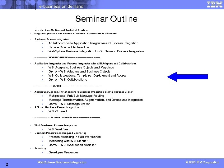 e-business on demand Seminar Outline Introduction – On Demand Technical Roadmap § Integrate Applications