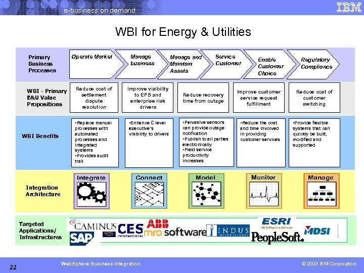 e-business on demand WBI for Energy & Utilities Primary Business Processes Operate Market Manage