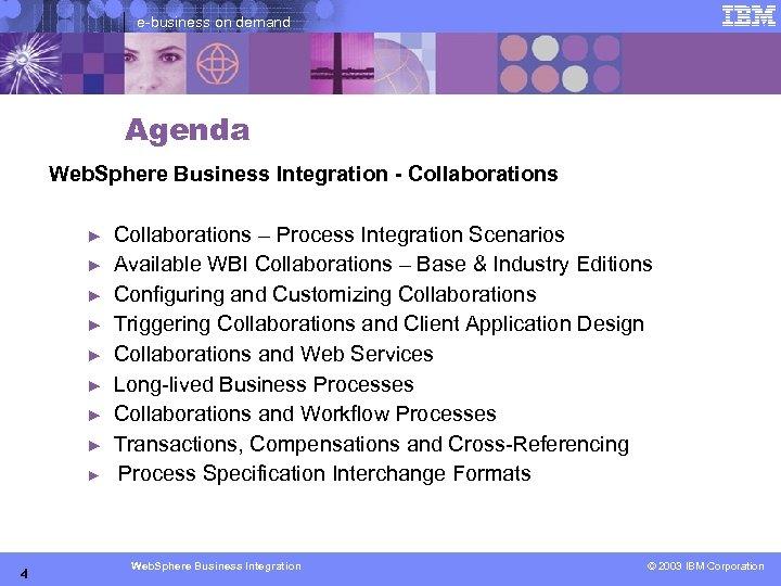 e-business on demand Agenda Web. Sphere Business Integration - Collaborations ► ► ► ►
