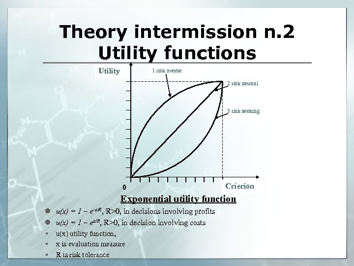 Theory intermission n. 2 Utility functions Utility 1 risk averse 2 risk neutral 3