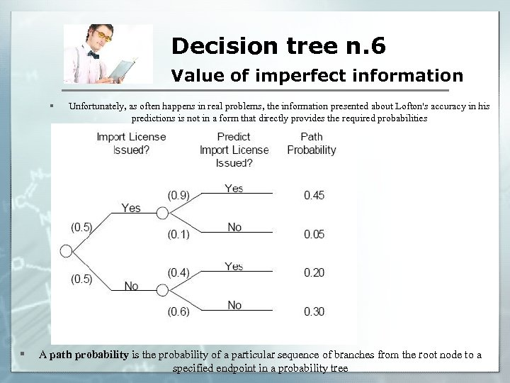 Decision tree n. 6 Value of imperfect information § § Unfortunately, as often happens