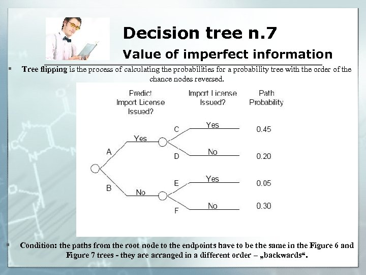 Decision tree n. 7 Value of imperfect information § Tree flipping is the process