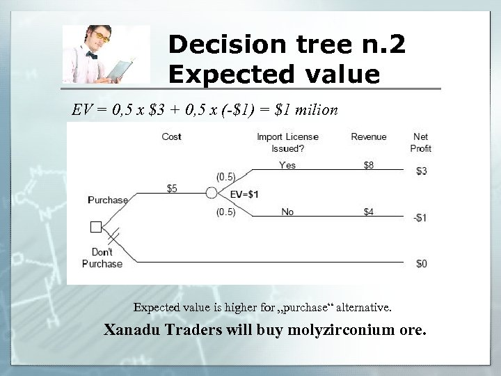 Decision tree n. 2 Expected value EV = 0, 5 x $3 + 0,