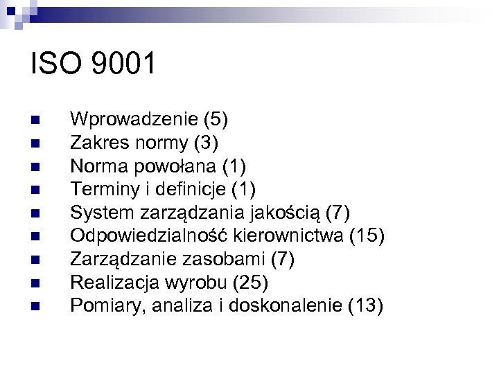 ISO 9001 n n n n n Wprowadzenie (5) Zakres normy (3) Norma powołana